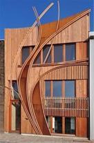 طراحی و اجرای نمای مدرن چوب