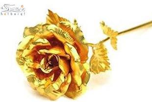 شاخه گل رز با روکش طلای ناب 24 عیار