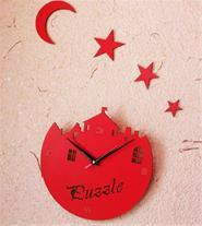 ساعت دیواری فانتزی ماه و ستاره  و کلبه
