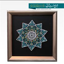 قاب طراحی شده با طرح کاشیکاری ستاره ای اسماء الهی