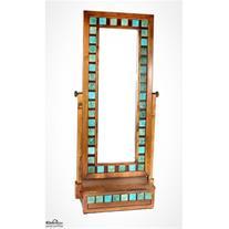 آینه ایستاده تک کشو فیروزه ای