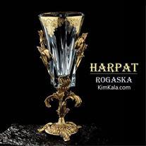 شیک ترین گلدان کریستال دکوری هارپات با آبکاری طلا