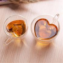 فروش لیوان تک پیرکس دوجداره با طرح قلب