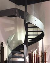 پله ورق دو محور با نرده شیشه ای