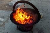 آتشدان فلزی آهنی با کف چدن