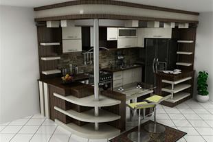خانه مدرن با آشپزخانه مدرن کابینت چیدمان